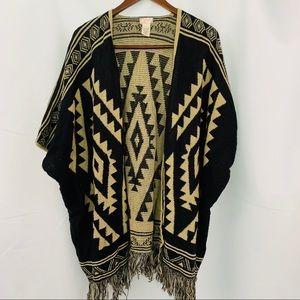 FREE PEOPLE | Oversize Boho Aztec Fringe Cardigan